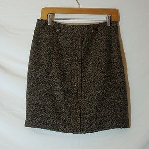 Tracy Reese New York Brown & Gold Wool Blend Skirt